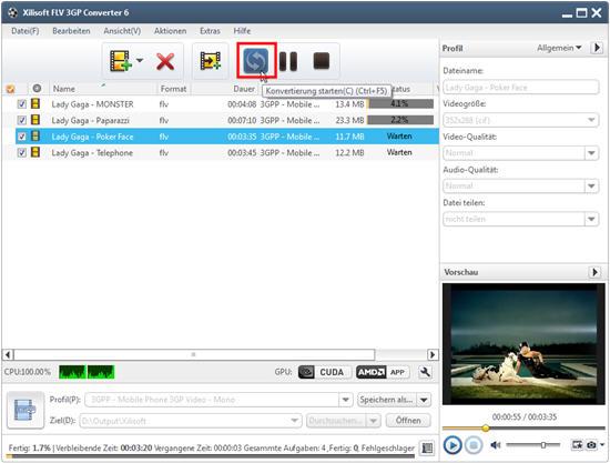 Xilisoft FLV 3GP Converter Anleitung